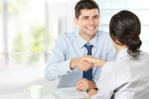 Handshake after a job recruitment interview