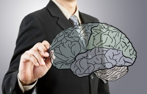 Business man drawing human brain diagram